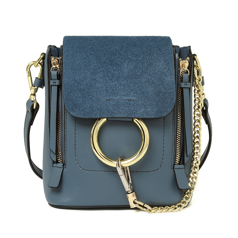 Genuine leather Ladies Circle Ring Chain Cross body backpack Nubuck cover Leather women solid color brand