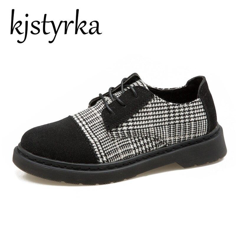 где купить Kjstyrka British Style Oxford Shoes Women Spring Splid Oxfords Med Heel Casual Shoes Lace Up Womens Shoes Retro Brogues Ladies по лучшей цене