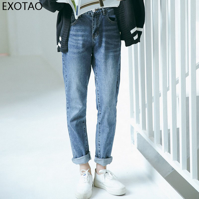 EXOTAO High Waist Women Jeans Washed Korean Style Basic Ankle-Length Panlaton Femme Straight Line Deep Blue Loose Denim Pants