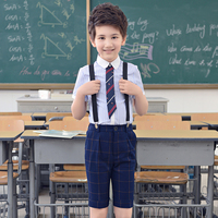 kids student clothes sets boy girl Clothing sets(striped cotton shirt+plaid pants) party clothes performance ceremony costume