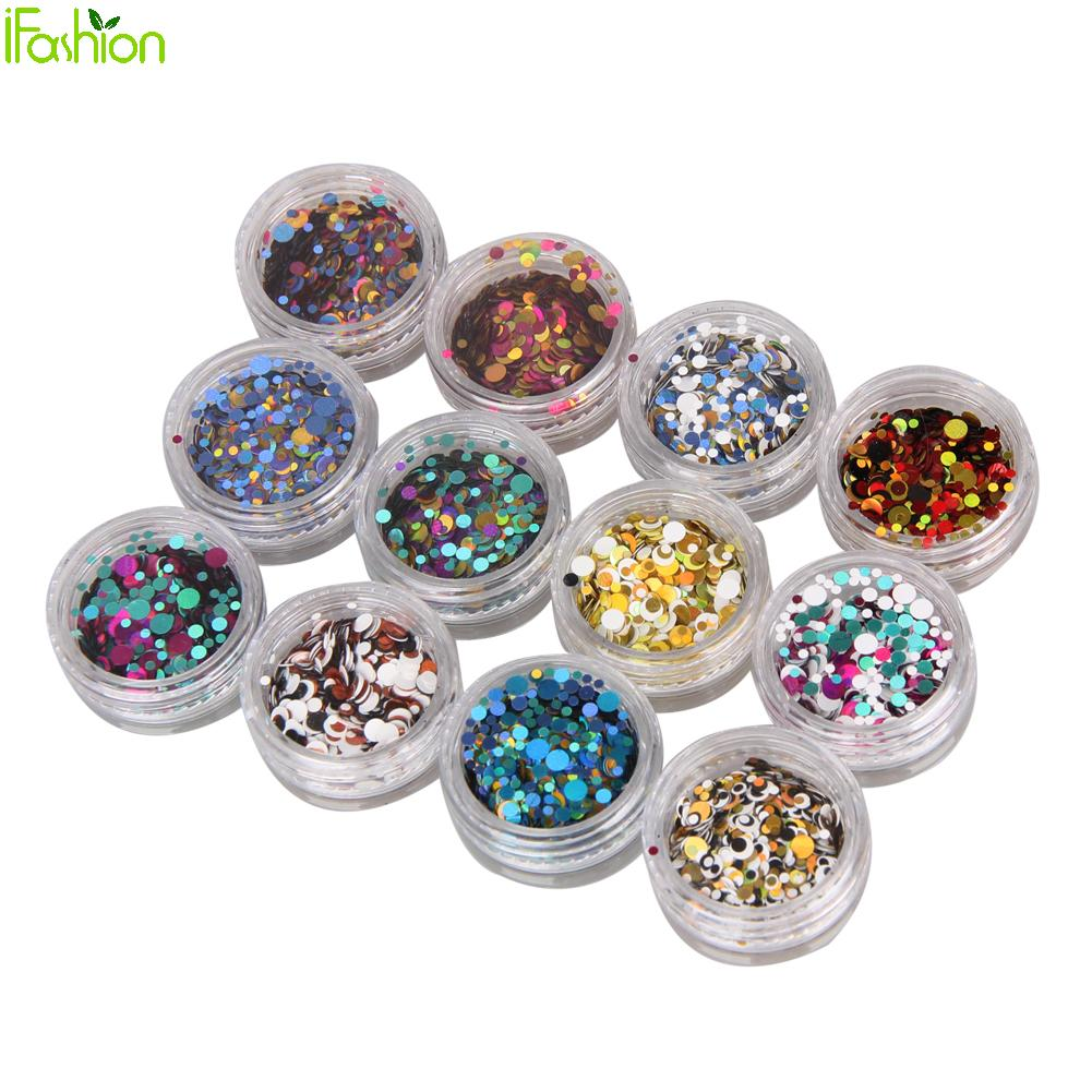 12colors Nail Art Decorations 3d Shiny Acrylic Nail Gel Laser Nails Sticker Glitter Powder Rhinestones Decorations Tips Manicure mioblet 2g box mirror effect nail glitter powder shiny rose gold purple mirror chrome powder dust nails art pigment diy manicure