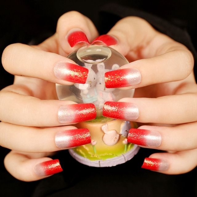 Glitter Clear Acrylic Fake Nails Beautiful Red French Flat False Nail Tips Simple Pre Designed