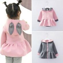 Пальто с объемными заячьими ушками для маленьких девочек куртка с длинными рукавами, комплекты одежды