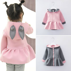 Toddler Baby Girls 3D Ear Bunny Rabbit Coat Long Sleeve Jacket Outfits Clothes(China)