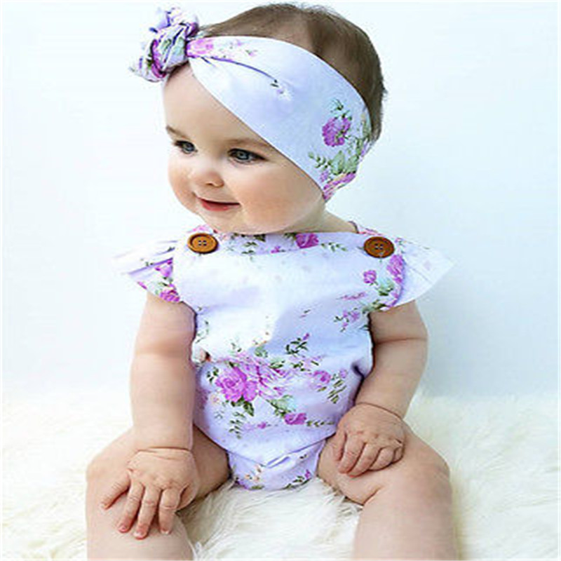 33e597dde209 Summer Newborn Infant Baby Girl Floral Short Sleeve Romper Purple +Headband  Baby Romper Jumpsuit Outfits Sunsuit Clothes-in Rompers from Mother   Kids  on ...