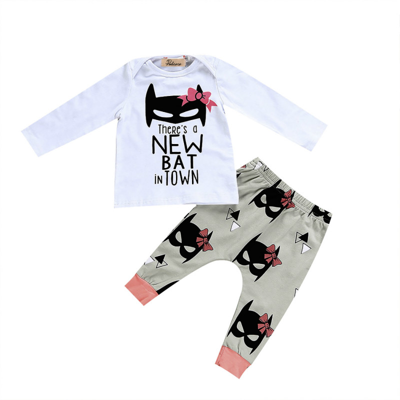 Newborn Infant Baby Girls Autumn Clothes Set Cartoon Print Cotton Long Sleeve T- Shirt Tops + Pants 2Pcs Outfit Clothing Sets infant baby boy girl 2pcs clothes set kids short sleeve you serious clark letters romper tops car print pants 2pcs outfit set