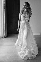 2018 Лихи ход Scoop рукавов нижней части спины невесты свадебное платье отделка жемчужными бусами Блестки Кружева шифон пляж Пром нарядные плат