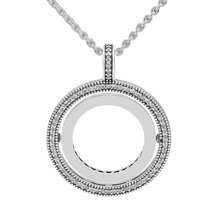 Signature Spinning Statement Pendant 925 Sterling Silver Clear CZ Necklaces Pendants for Jewelry Making Women Accessories