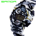 SANDA 2016 New Mountaineering Men Watches Fashion Military Camouflage  Children Digital Wristwatches Silicone Watchband Cheap