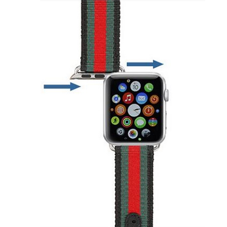 757b6474bc1 New Release Woven Nylon Canvas Genuine leather Sports Band for Apple Watch  38mm 42mm Series 1  2 Strap Bracelet Replacement-in Watchbands from Watches  on ...