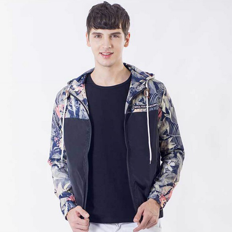 Floral Bomber Jacket Men Slim Fit Flowers Pilot Bomber Jacket Coat ...