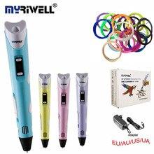 MYRIWELLL 3d Ручка 2st Поколения 3D Magic Pen СВЕТОДИОДНЫЙ Дисплей Температуры экран Добавить Бесплатно 20 Цвет ABS Накаливания Лучший DIY Подарок Для Детей