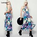 Fashion Women Dress Chiffon Straight Mid-Calf A-Line Striped Printed Party O-Neck Sleeveless Casual Women Dresses Vestido