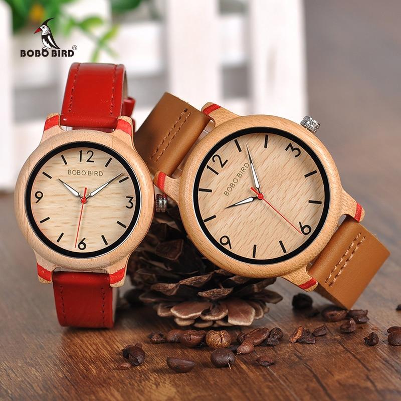 BOBO BIRD Lovers' Bamboo Watches Relogio Feminino Analog Quartz Casual Wristwatches Handmade Wooden Watch W-aQ22 DROP Shipping