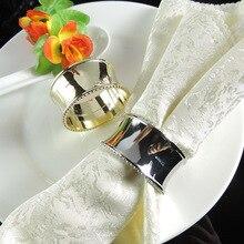 цена 12PCS restaurant table metal gold/silver round napkin ring napkin buckle towel ring в интернет-магазинах
