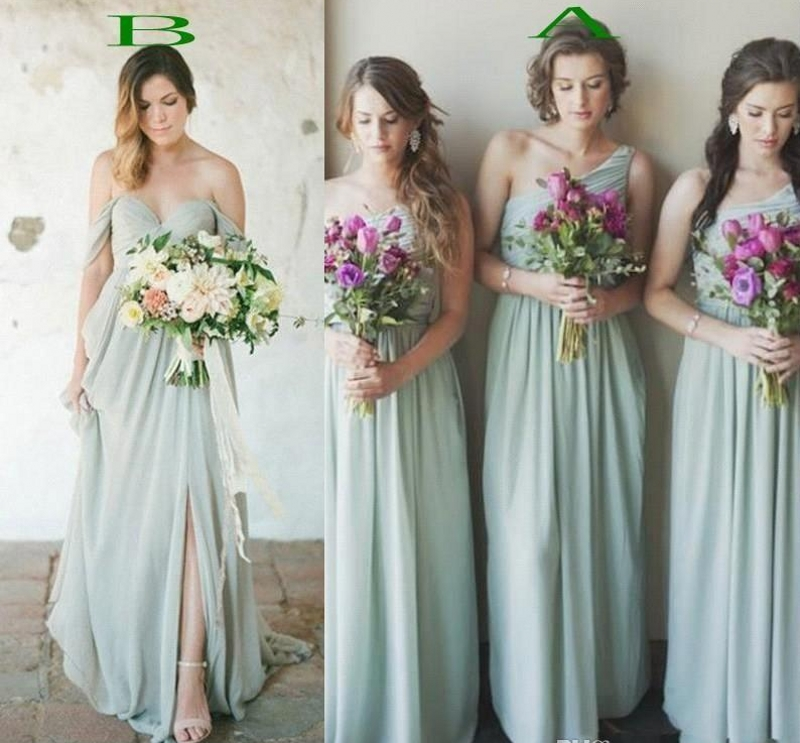 2019 Sage Country Boho Chiffon   Bridesmaids     Dresses   A Line Pleats Long Wedding Guest Party Prom Gowns Cheap