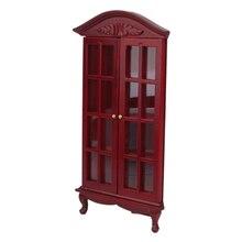oMoToys Noble Design 1/12 Dollhouse Miniatures Furniture Corner Cabinet for House Decor Burgundy