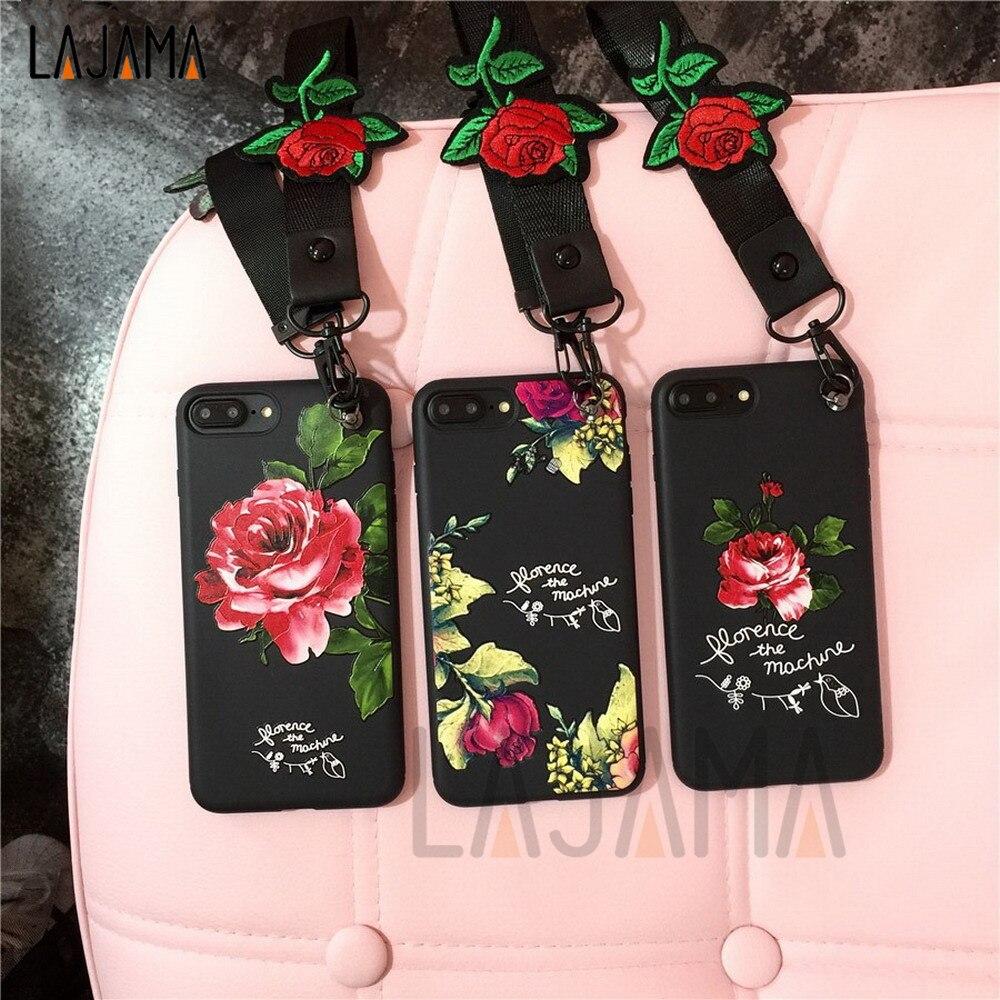 3D Relief Dentelle Roses Fleurs Silicone Téléphone Cas pour Iphone 6 6 s 6 Plus 6 s Plus 7/8 7/8 Plus Rose Brodé Bracelets lanière
