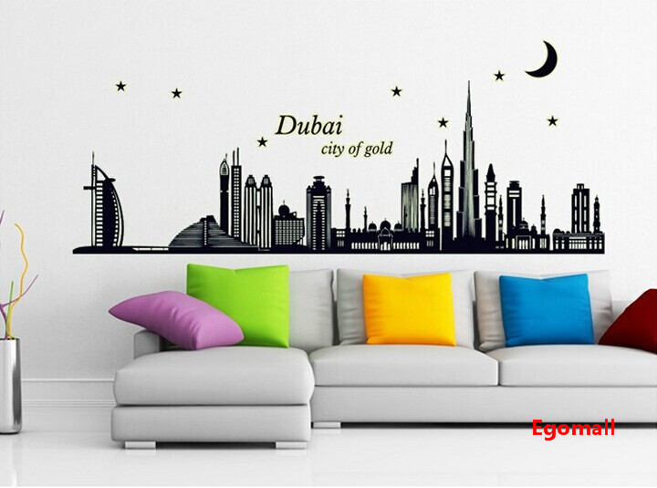 high quality dubai city of gold 3d wall sticker noctilucent wall