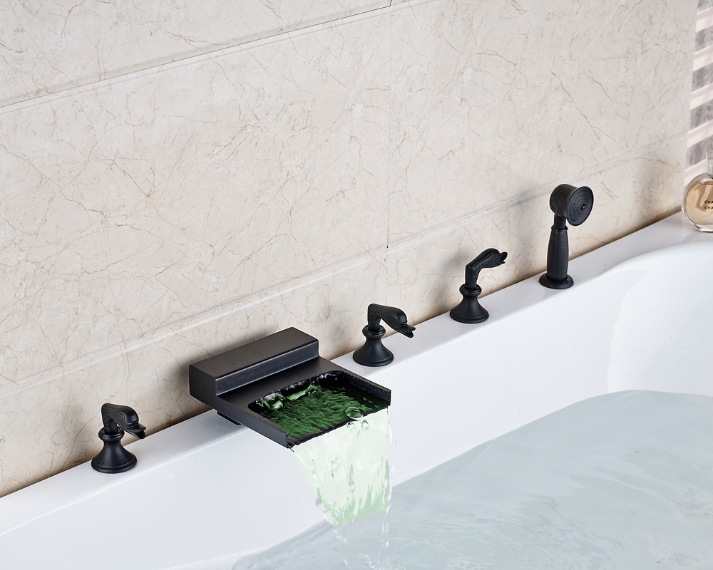 Oil Rubbed Bronze Widespread 5pcs Waterfall LED Spout Bathroom Tub Faucet With Hand Shower