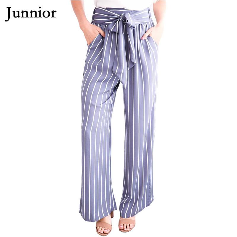 Womens Striped High Waisted Polyester Straight   Leg   Long Loose   Pants   Capris Belted   Wide     Leg     Pants