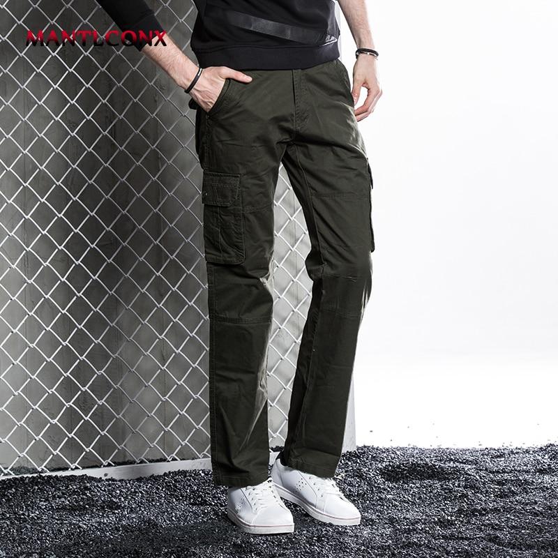 Mantlconx New Design Casual Men Cargo Pants Cotton Pant Military Trousers Fashion Black Pants Men Trousers Loose Plus Size 38