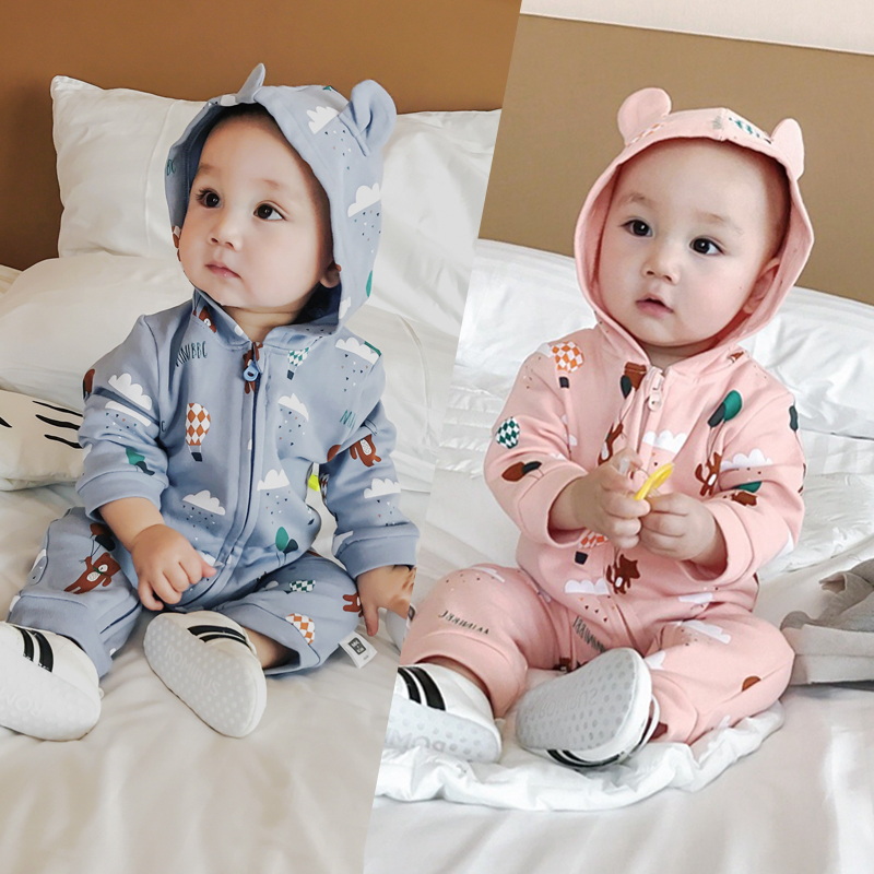 Infant Baby Fall Rompers Hooded Ear Long Sleeve Cotton Boys Jumpsuit Cute Bear 1st Girls Overalls Children Sunsuit Kids Clothing 2016 new newborn baby boys girls clothes rompers cotton tracksuit boys girls jumpsuit bebes infant long sleeve clothing overalls