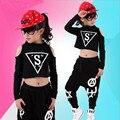 Nuevos Sistemas de Los Niños, Niña, Niño Negro Jazz Hip Hop Dancewear Moderno conjunto Niño Traje de la Danza de Manga Corta Top y Pantalones Fit 4-12Y
