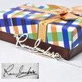 925 de Plata Maciza Collar Placa de Identificación Personalizada Firma Personalizada pantalla de Escritura A Mano Cortar Encanto Joyería Conmemorativa