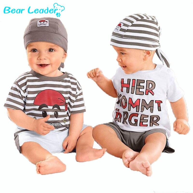 Bear Leader Babys Set  2018 New Summer Letter Baby  Boy Suit Set 3Pieces Hat T-Shirt Pants Summer Outfit For Toddler Vestidos