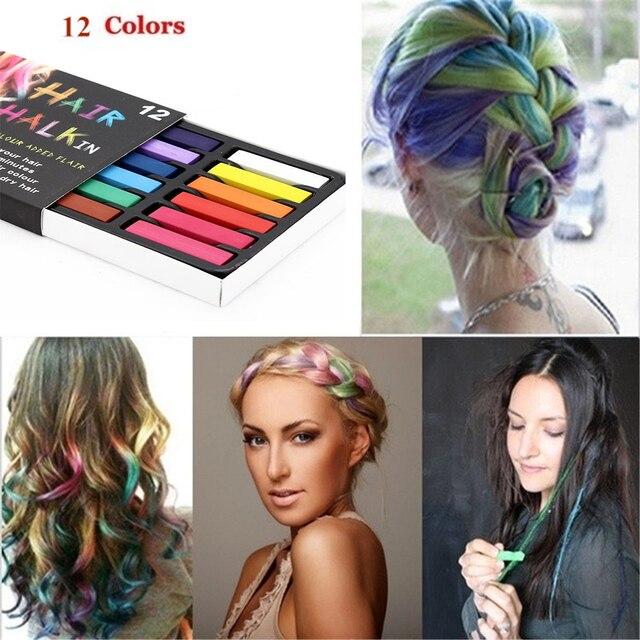 Kit de crayones de pelo suave no tóxico Pastel 12 colores tinte pelo polvo Pastel temporal tiza 2018 DIY cabello salón de Kit de herramientas