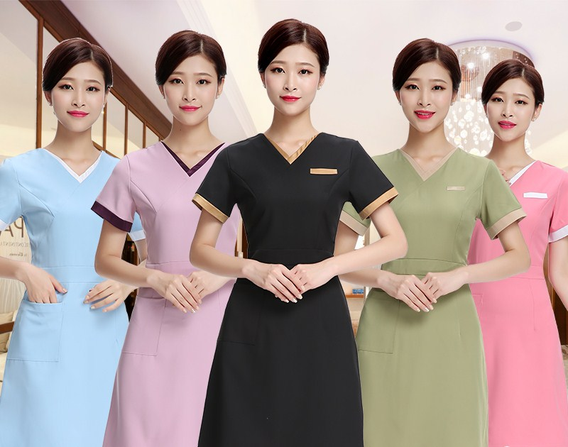 2018 summer nurse uniform beautician overalls medical clothing beautician dress beauty salon uniforms dress