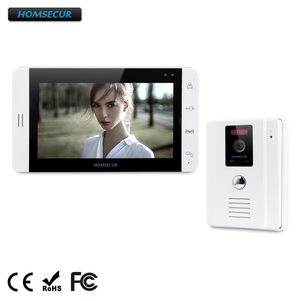 HOMSECUR 7 Wired Hands-free Video Door Phone Intercom System+White Monitor 1C1M(TC011-W+TM703-W)