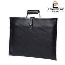 ETONWEAG New 2017 women brands cow leather black zipper business style handbags vintage shoulder bags document laptop bag