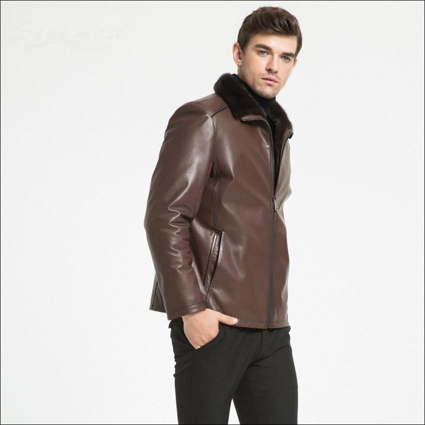 4ff1c8235f7 Cuir Noir Portant Hommes Riz Maylooks En Et Revers D hiver Ws131 Automne  Mode Granules De marron Chèvre Veste ...