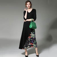 2017 Chiffon Printed Robes Femme 2017 Black Patchwork Dress Women V Neck 3 4 Sleeve Vestido