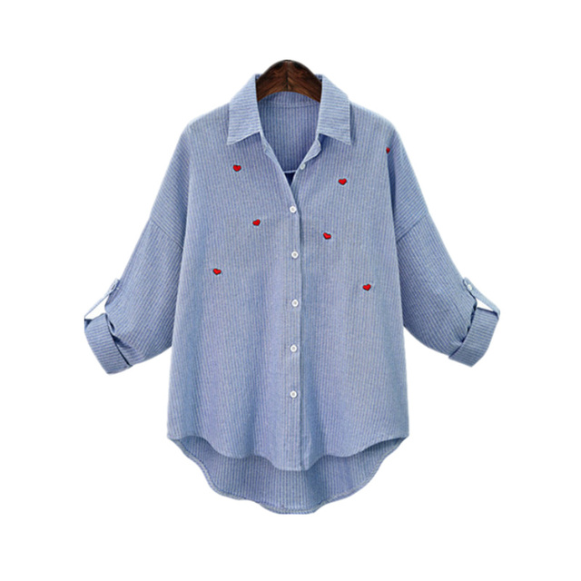 2017 Spring Red Heart Embroidery Blouse Women Casual Long Sleeve Shirts Female Cotton Linen Blouses Plus Size  Blusas Feminina