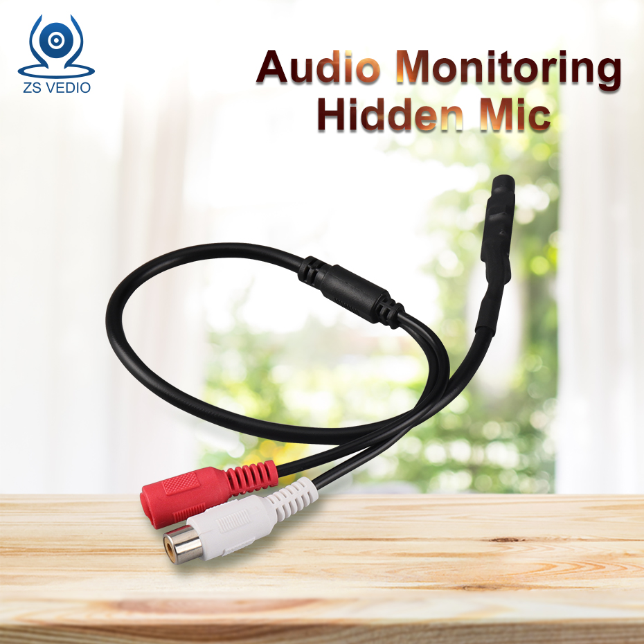 ZSVEDIO Surveillance Cameras Accessories CCTV Mini Microphone Audio Surveillance Hidden Mic For CCTV Camera DVR