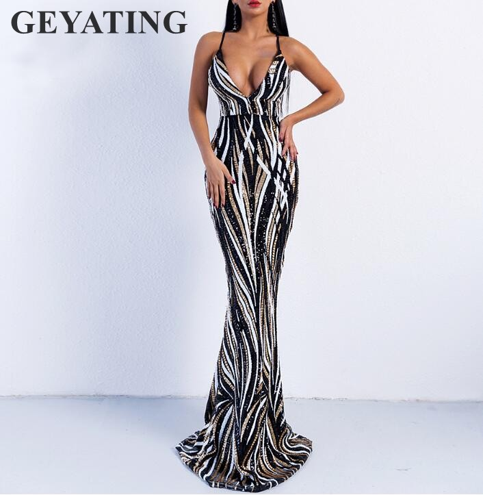 96237a66d0d 2019 Black White Sequined Mermaid Prom Dresses Spaghetti Straps Sexy Deep  V-neck Maxi Backless Red Carpet Evening Party Dress