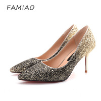 FAMIAO Woman Sexy Wedding Party Shoes Gold Silver Red Bottoms Women Pumps Bling High Heels Women