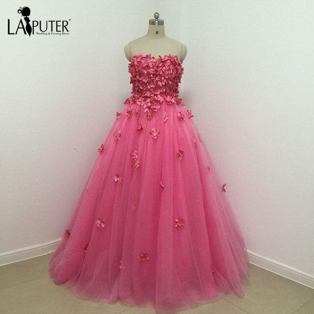329e704a431 Замечательный с плеча Милая Тюль бальное платье розовый Вечерние платья пол  Длина жемчуг 3D цветы платье