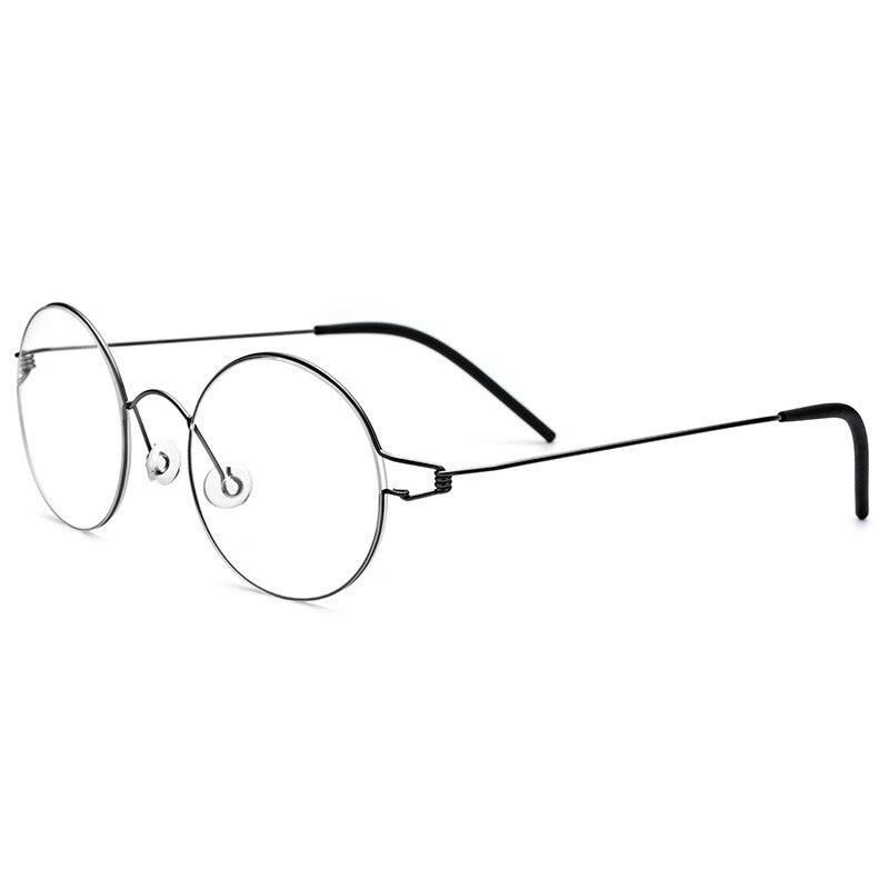 Screwless Eyewear Prescription Eyeglasses Women Ultralight Round Myopia Optical Glasses Frame Men High Quality Titanium 28607
