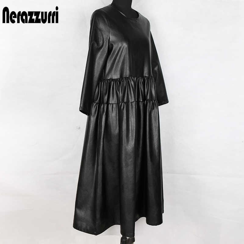 Nerazzurri, черное платье из искусственной кожи, Женское Платье макси с длинным рукавом, осеннее платье, плиссированное длинное женское платье, теплое кожаное платье больших размеров, одежда для женщин, 4xl 5xl 6xl 7xl