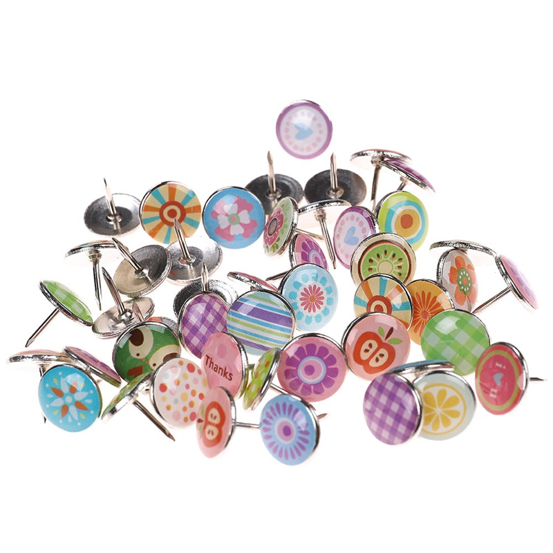 100Pcs/pack Fruits Flowers Colored Metal Push Pins Thumbtack