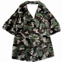 85cm Green Camouflage Rex Rabbit Fur Coat Outwear Garment Jackets Jacket Plus Large Suit Turn Down Collar Zipper Custom Plus