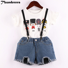 girls clothes sets 2018 new T-shirt Cartoon guard pattern with Strap denim shorts cute N kids 2-7Y