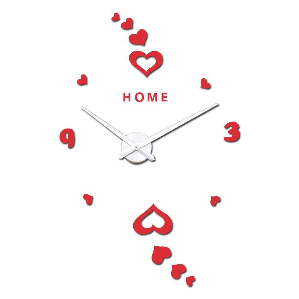 Love Hearts Digital Wall Clock Quartz Kitchen Large Clock 3D DIY Mirror Stickers Big Wall Clocks Home English Letters Gift