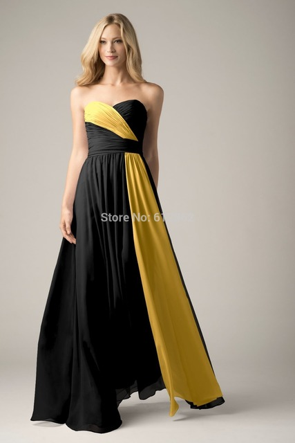 2017 Strapless Pleat Chiffon Black And Yellow Prom Dresses In Prom