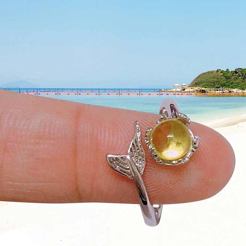 Moda klasik Kawaii renkli denizkızı Fishtail köpük kristal geometrik gümüş açılış yüzük yaz plaj partisi doğum günü hediyesi