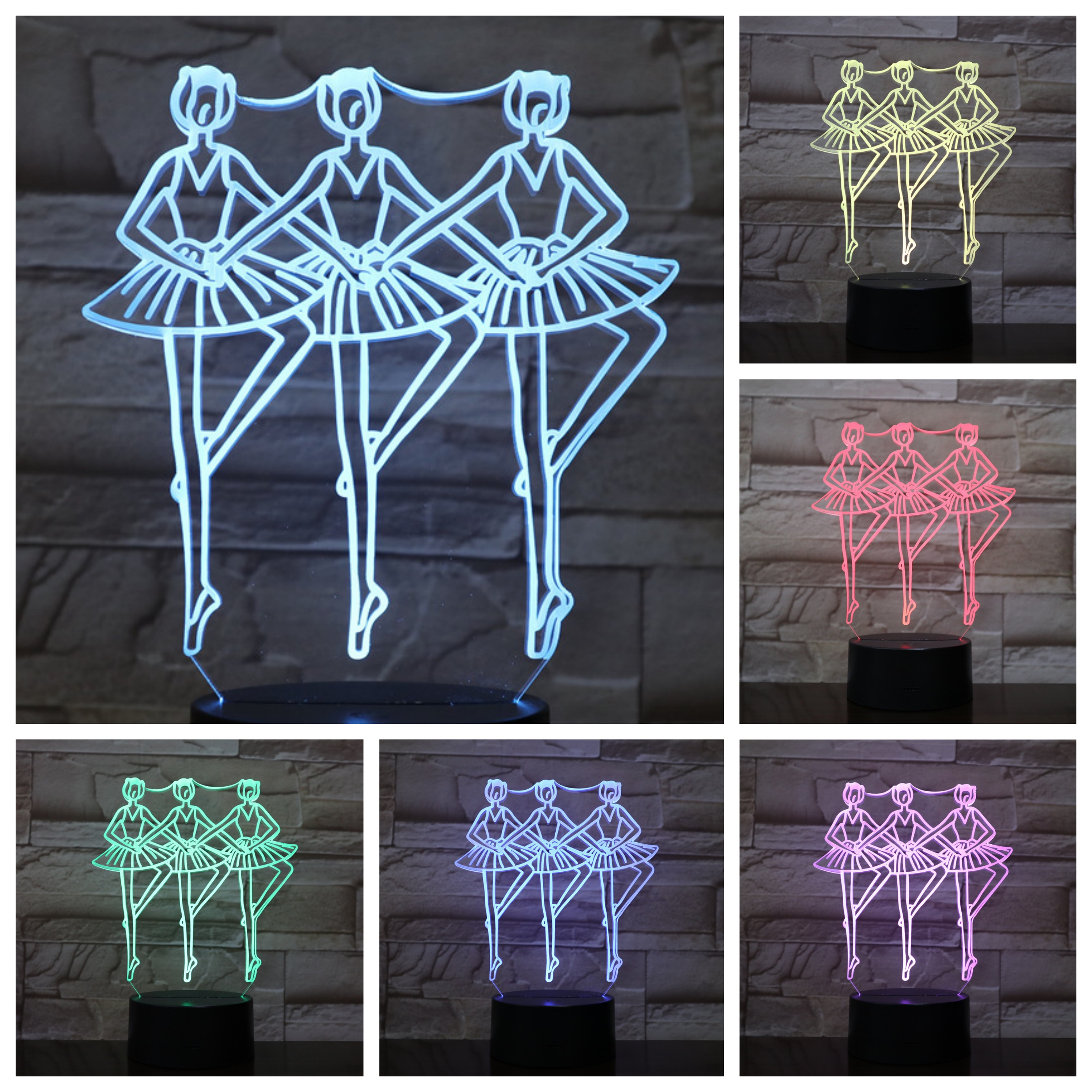 Ballet Figure 3d Led Lamp Bedside Multicolor Rgb Decorative Light Girl Childrens Kids Gift Balletto Usb Night Table